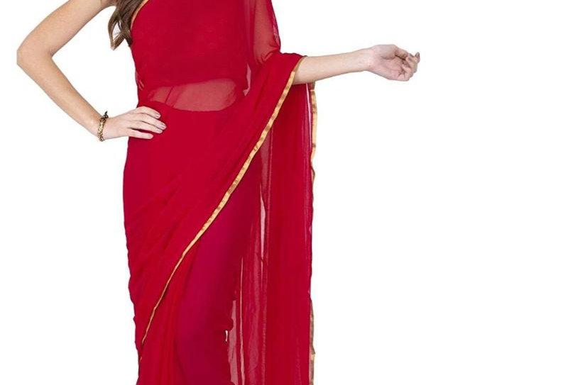 Women's Chiffon Saree (Red, 5-6 Mtrs)