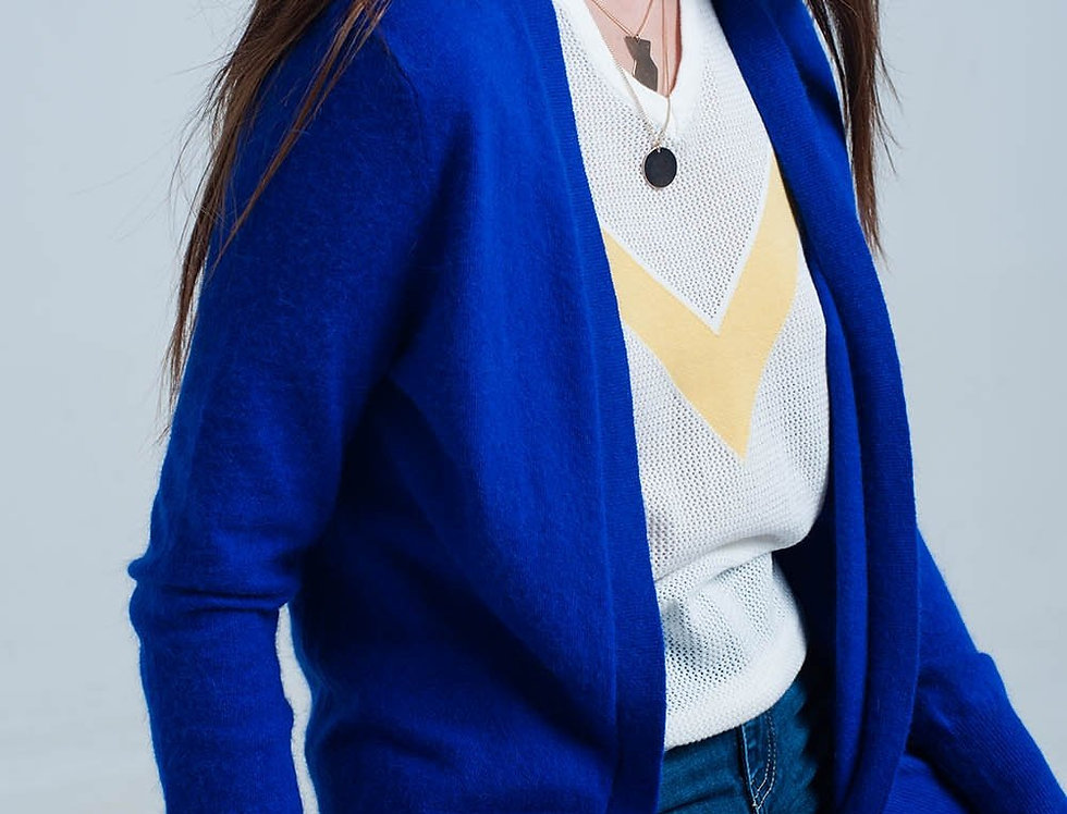 Blue Soft Long Sleeves Angora Cardigan