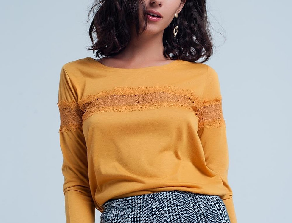 Mustard 3/4 Sleeve T-Shirt With Eyelash Trim