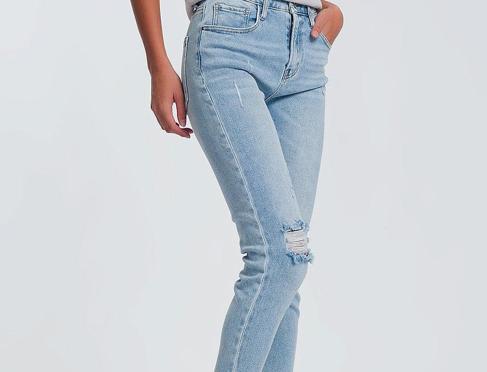 Ripped Knee Raw Hem Skinny Jeans in Light Blue