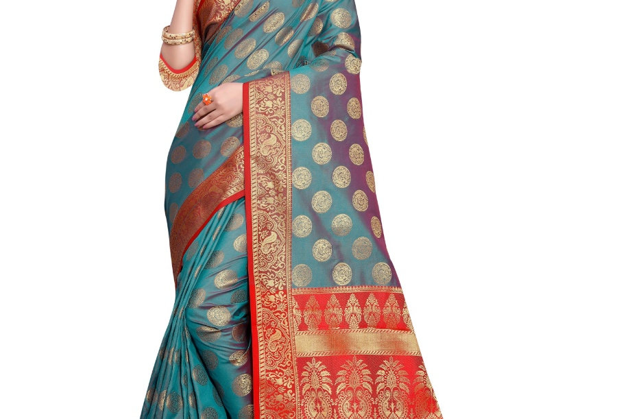 Women's Sana Silk Jacquard Saree With Blouse (Green, 5-6 Mtrs)