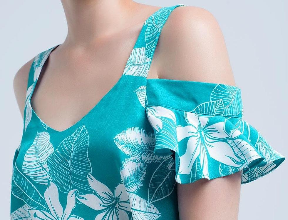 Green Flower Top and Ruffles Detail