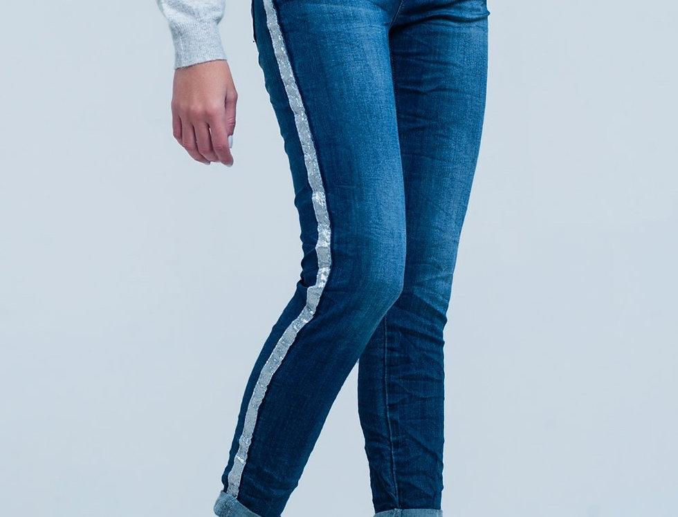 Dark Wash Jeans With Silver Shiny Side Stripe