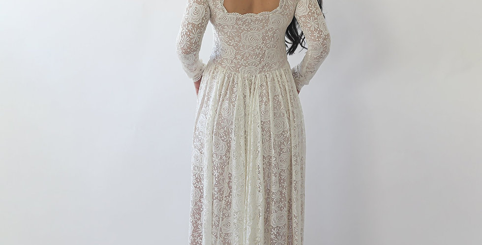 Curve & Plus Size  Square Neckline Wedding Dress With Pockets #1265