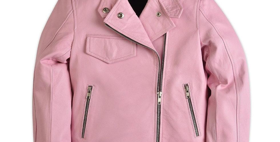 Kelly Girls Moto Pink Leather Jacket