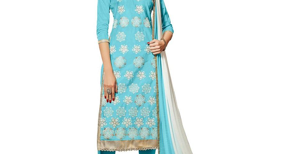 Glaze Cotton Fabric Sky Blue Color Dress Material