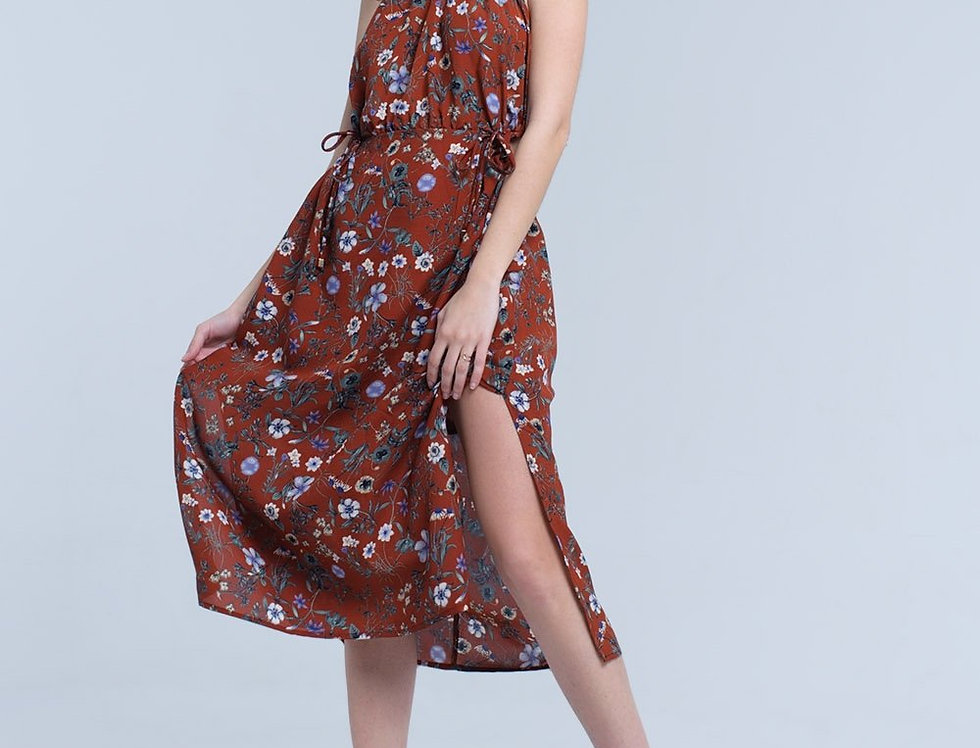 Brown Floral High Neck Cut Out Midi Dress