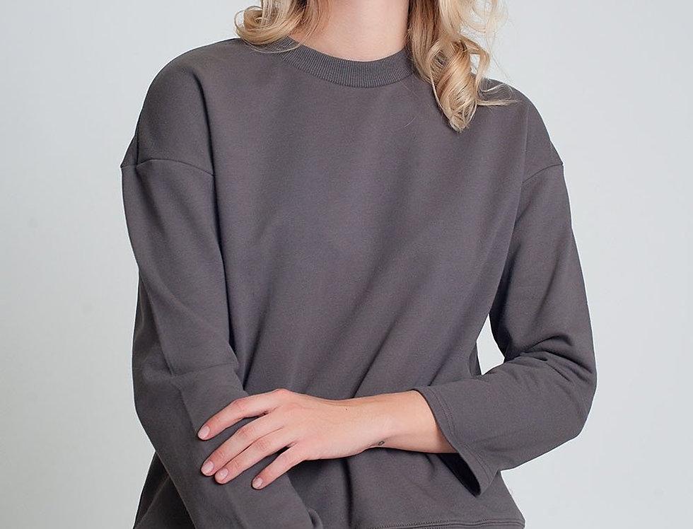 Cotton Drawstring Sweatshirt in Gray