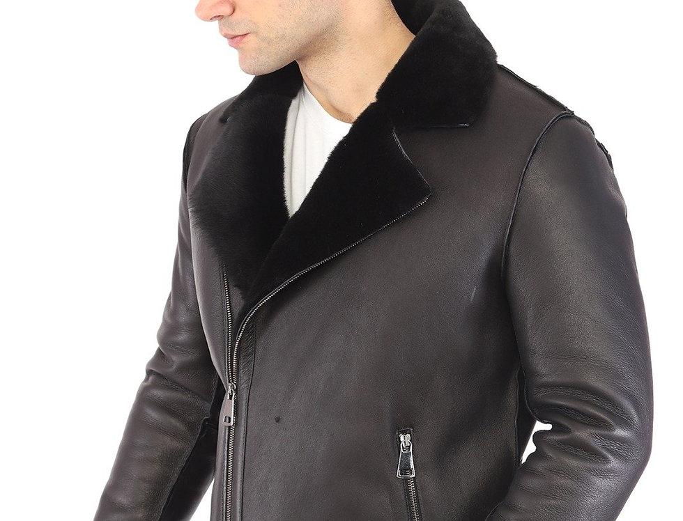 Noah Men's Natural Shearling Real Fur Leather Nappa Coat