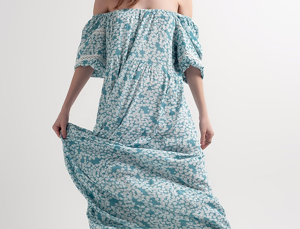 Fallen Shoulder Maxi Dress in Turquoise Printed Floral