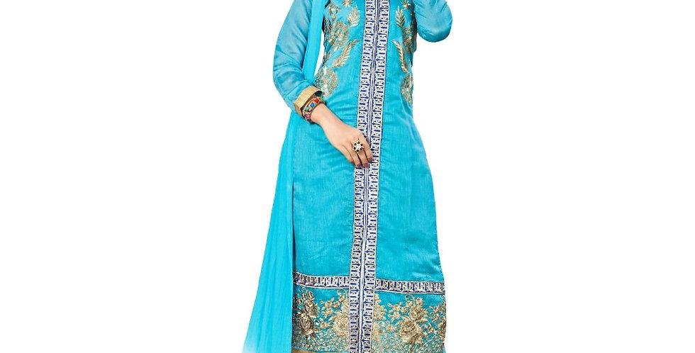 Chanderi Fabric Sky Blue Color Dress Material