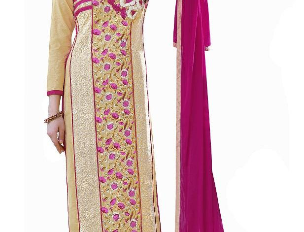 Beige Cotton Embroidered Party Wear Salwar Suit Material