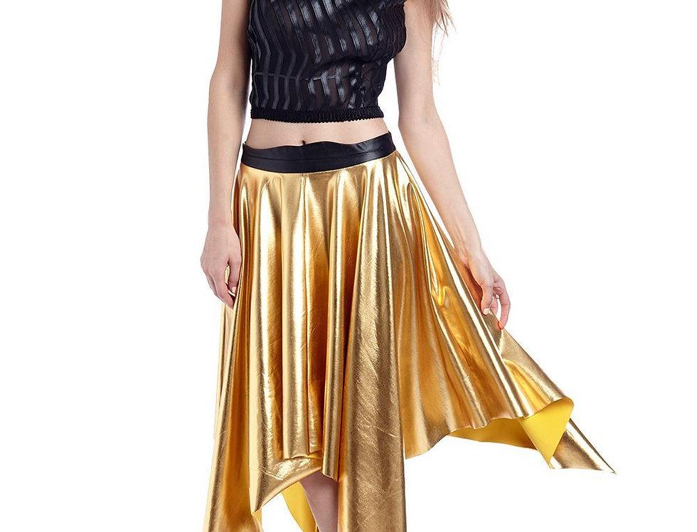 Golden Pleated Midi Skirt in Metallic