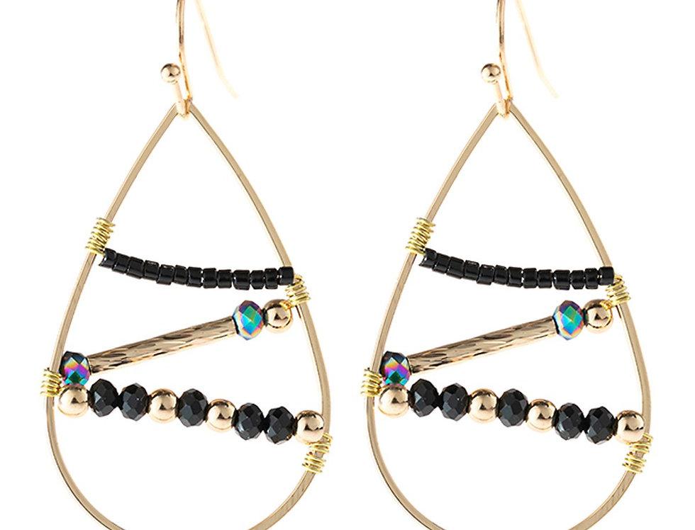 Hde3113 - Open Teardrop Beaded Earrings