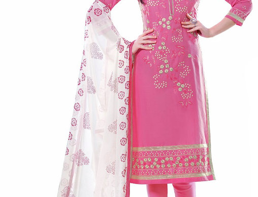 Pink  Party Wear Dress Material