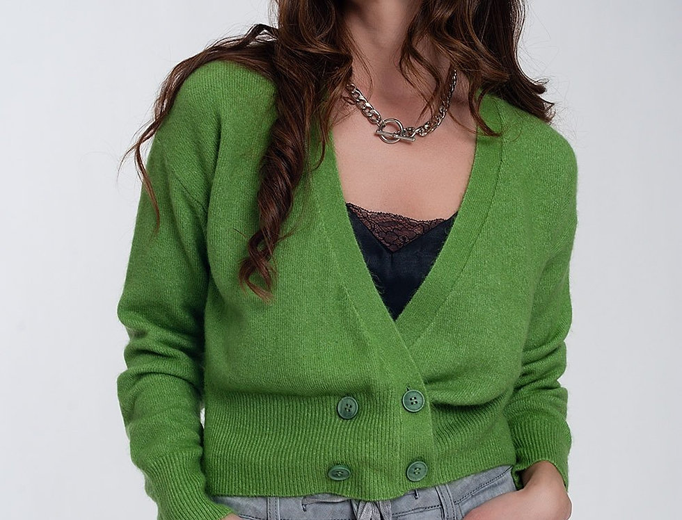 Button Front Cropped Knit Cardigan in Green Colour