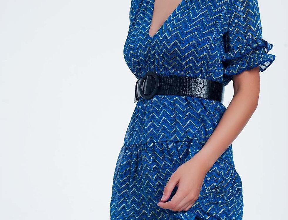 Blue Tiered Maxi Dress