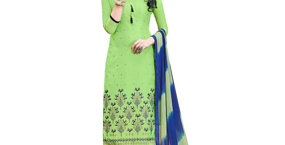 Chanderi Cotton Fabric Green Color Dress Material