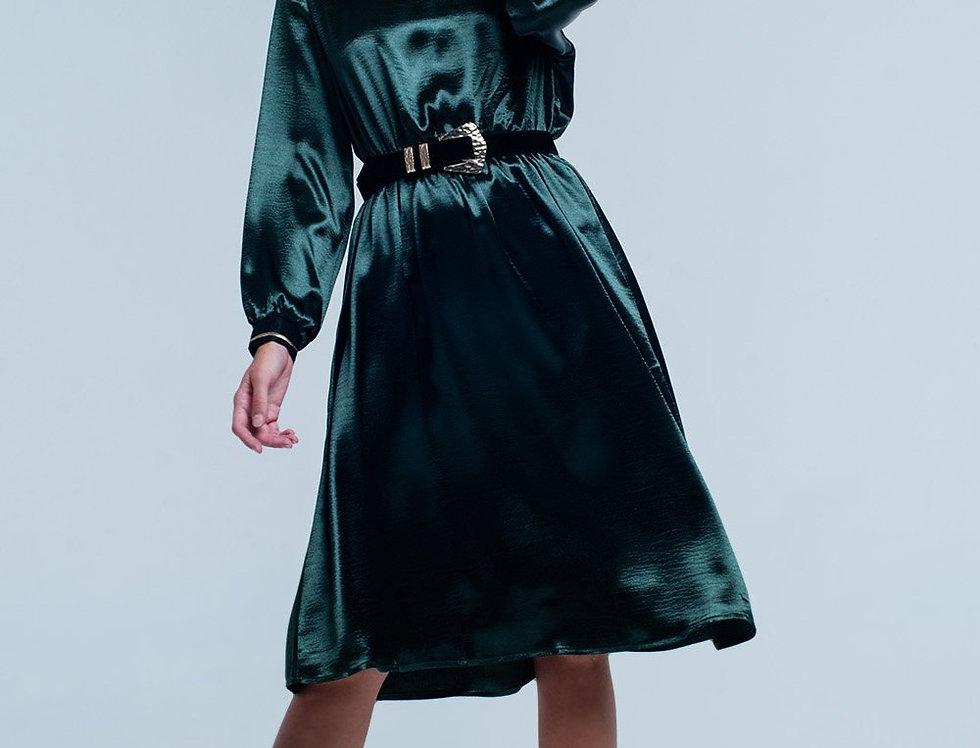 Green Satin Party  Midi Dress