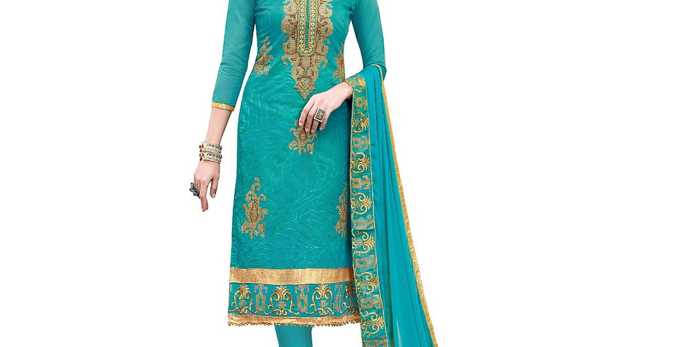 Chanderi Cotton Fabric Turquoise Color Dress Material