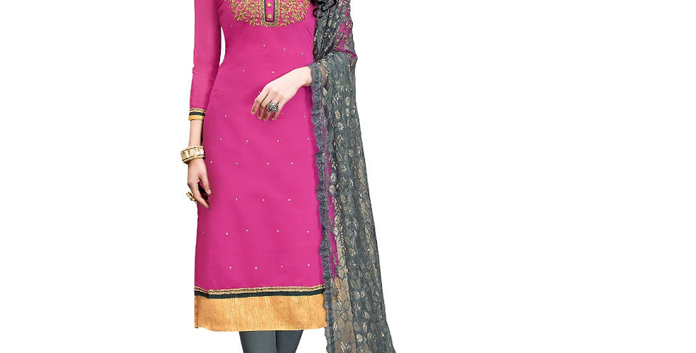 Chanderi Cotton Fabric Pink Color Dress Material