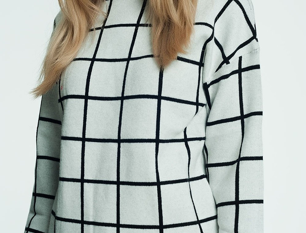 Checkered White Turtleneck Sweater