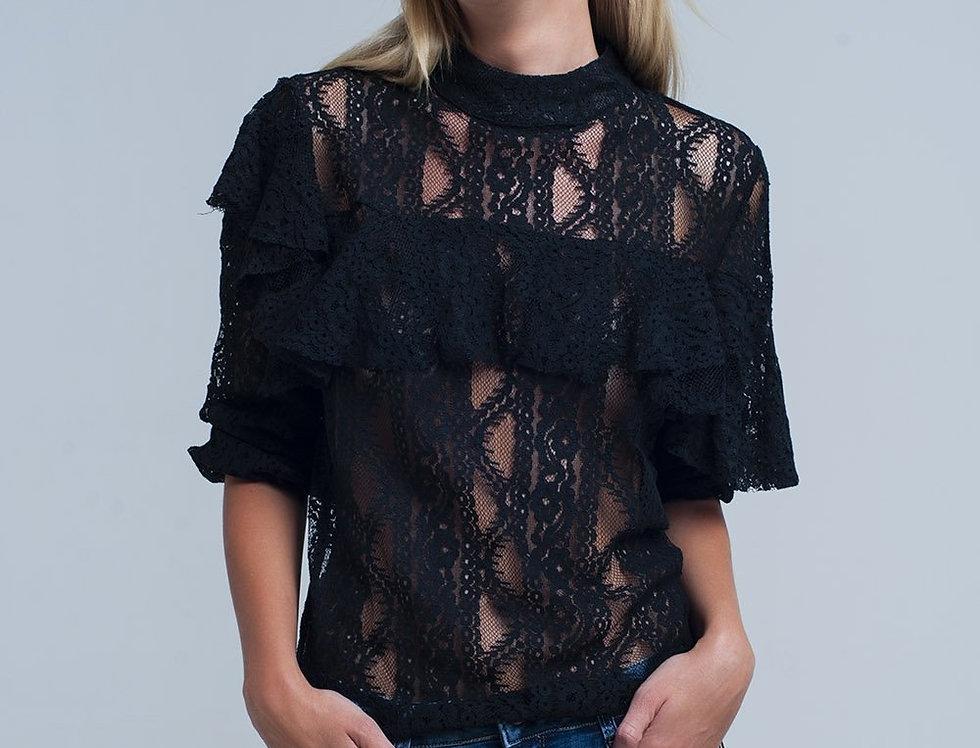 Black Lacy Shirt and Ruffles
