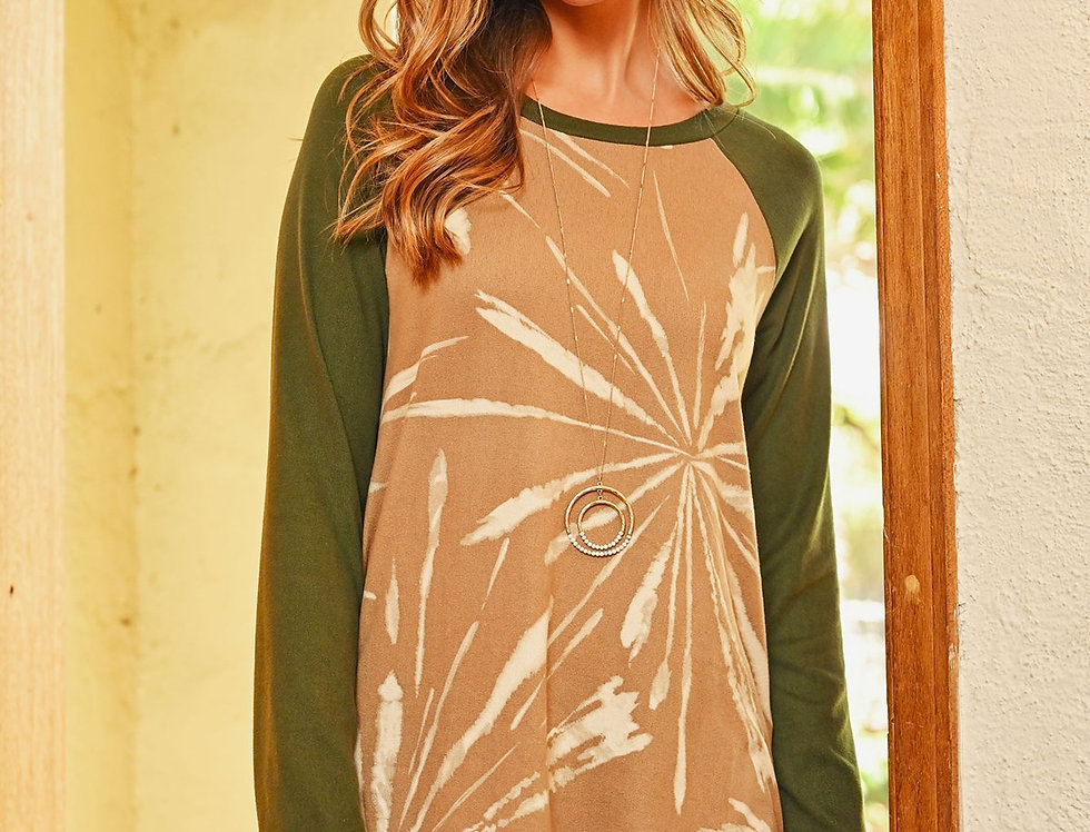 Solid Sleeves Printed Round Hem Top
