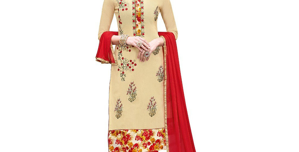 Chanderi Cotton Fabric Beige Color Dress Material