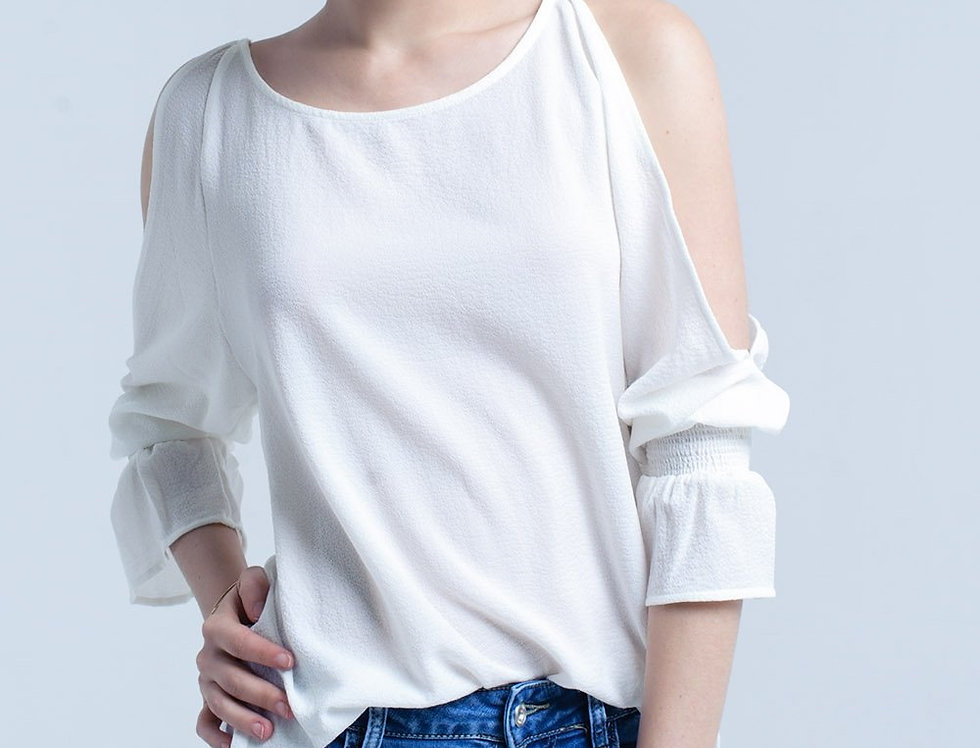 Cream Top Boat Neck and Bell Sleeve
