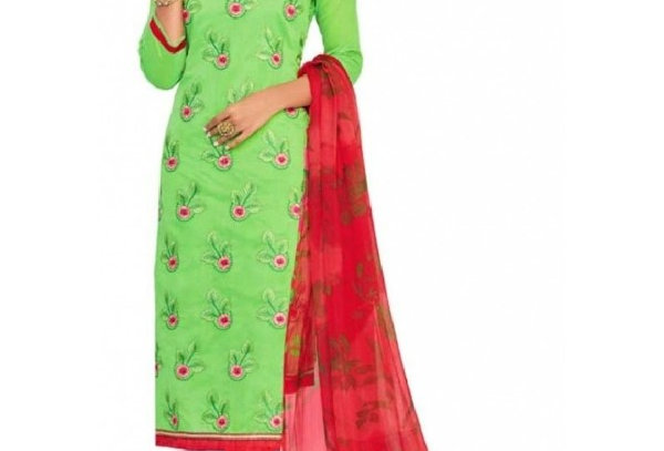 Chanderi Straight Embroidery Unstitched Suit