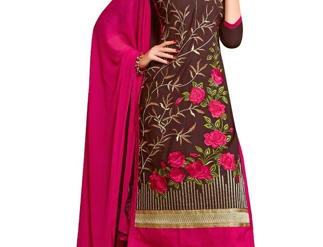 Brown Glaze Cotton Embroidered Party Wear Dress Material