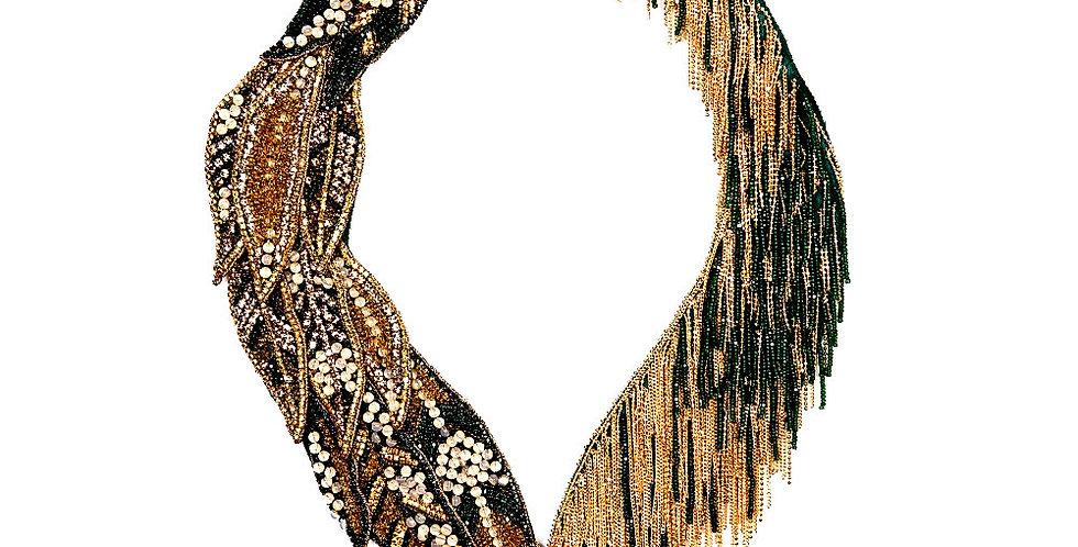 Gold Leaf Navette Necklace.