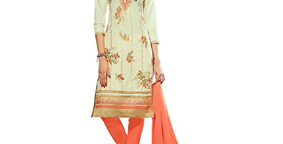 Glaze Cotton Fabric Cream Color Dress Material