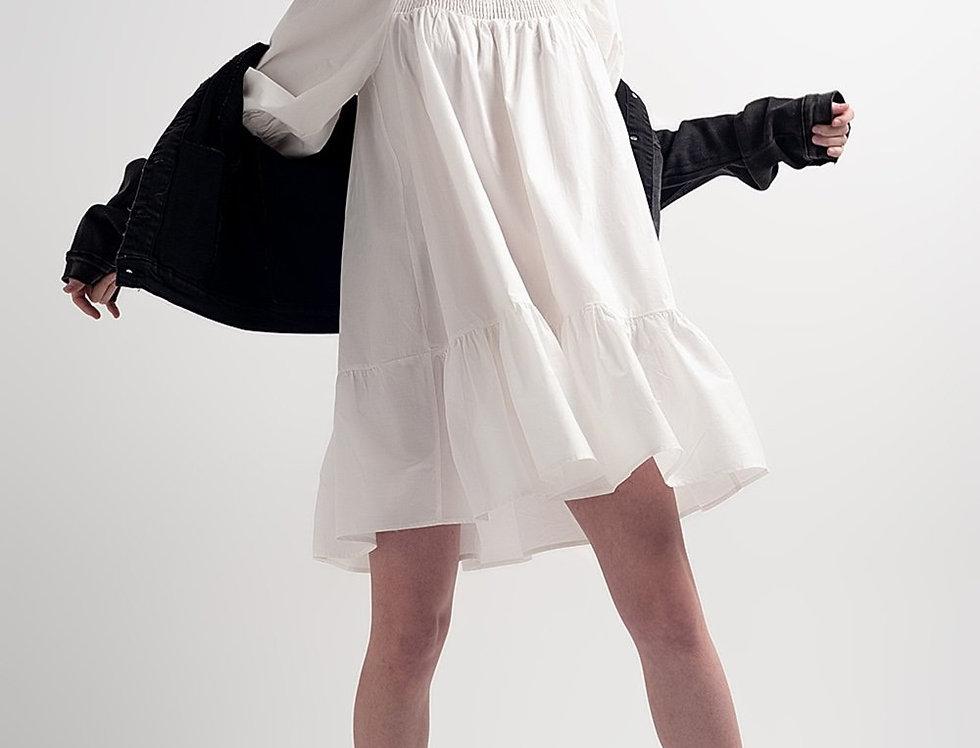 Cotton Poplin Mini Smock Dress With Pep Hem in White
