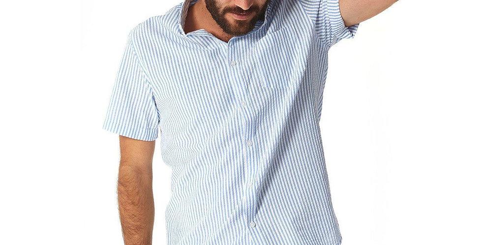Devin Blue Seersucker Striped Shirt