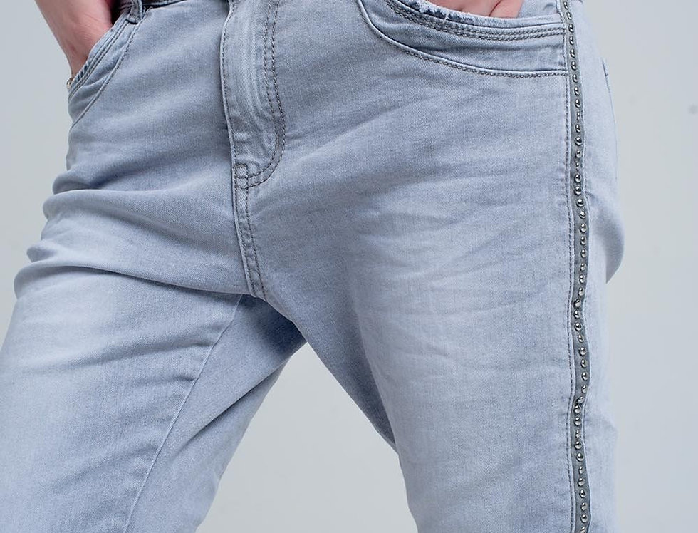 Grey Jeans With Detail Metalic