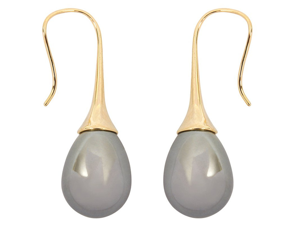 Hde2344 - Teardrop Pearl Pull Trough Earrings