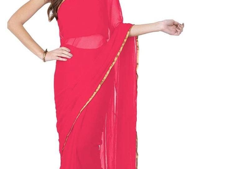 Women's Chiffon Saree (Peach, 5-6 Mtrs)