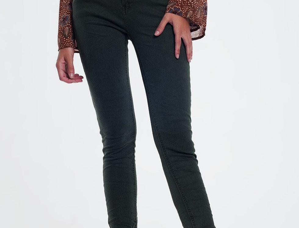 High Waist Skinny Jeans in Khaki
