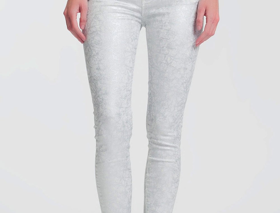 Super Skinny White Jeans With Silver Print