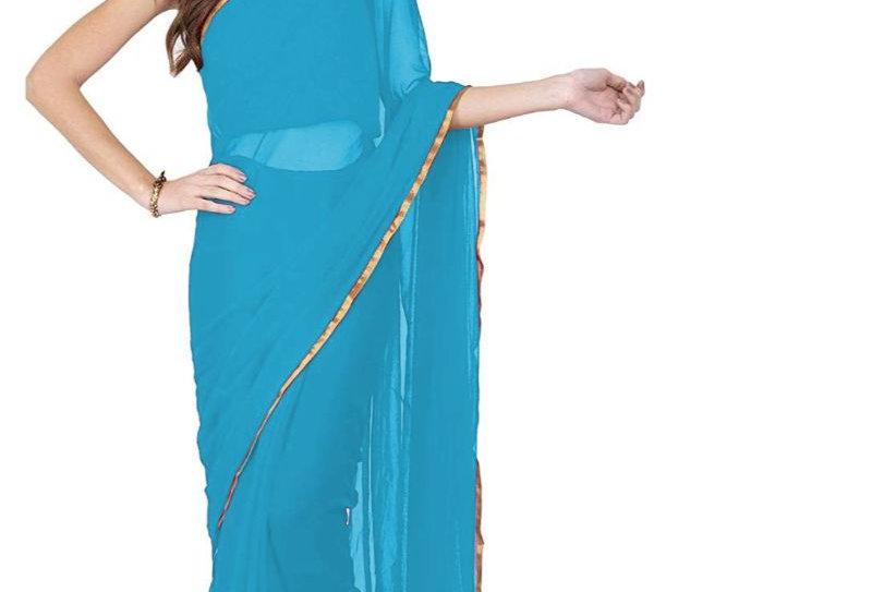 Women's Chiffon Saree (Sky, 5-6 Mtrs)