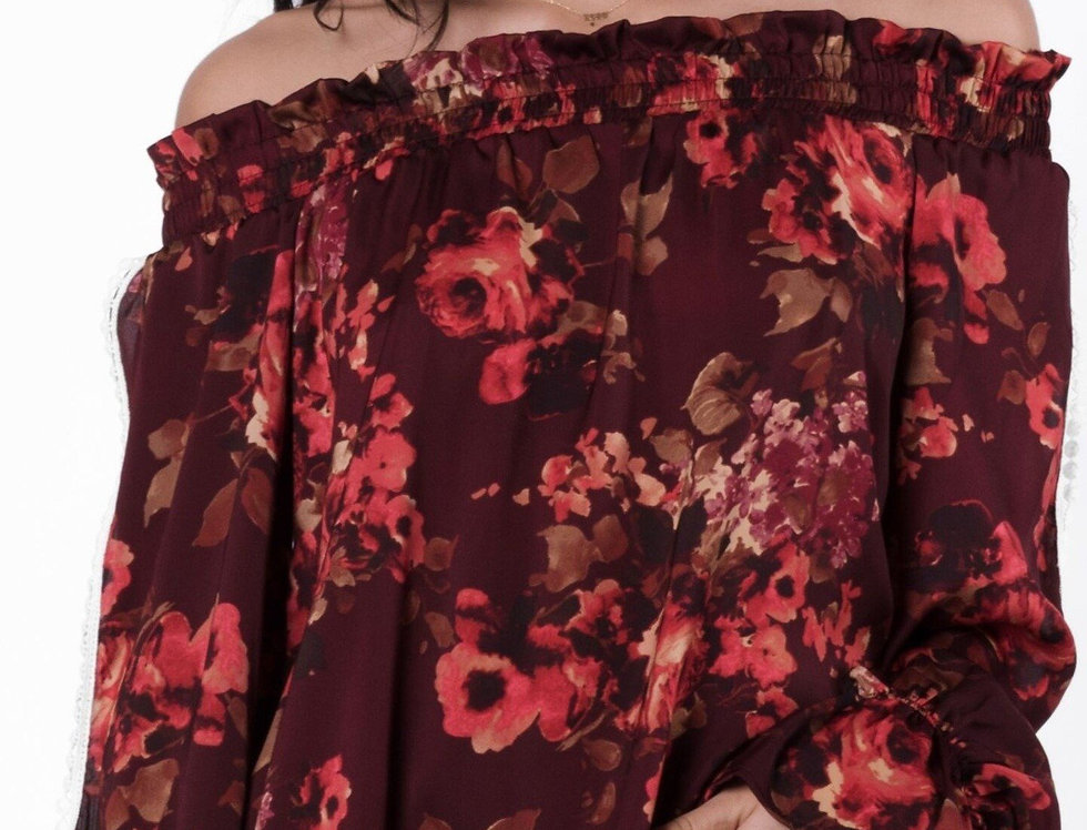 Almeria Off Shoulder Smocked Floral Blouse