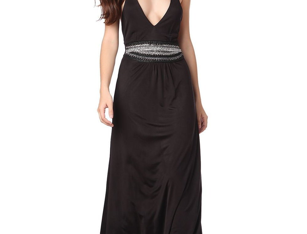 Black Maxi Dress With Plunge Neck and Chain Detail
