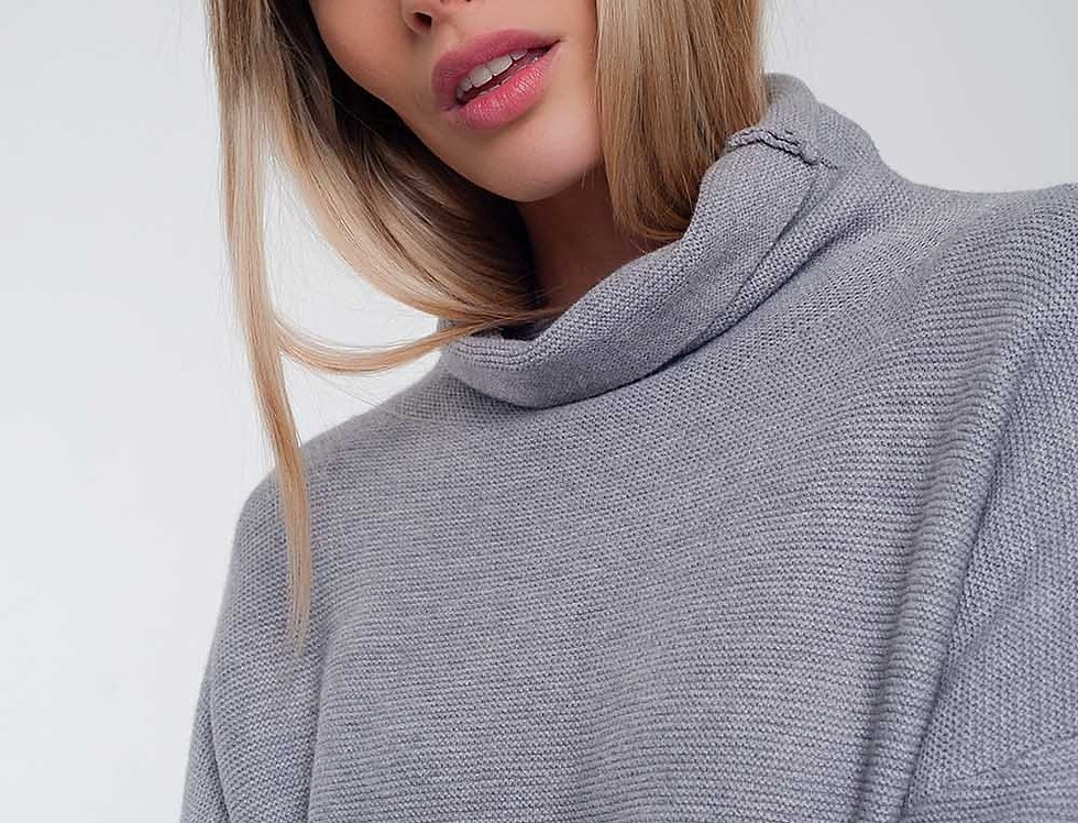 Oversized Jumper With Cowl Neck in Gray