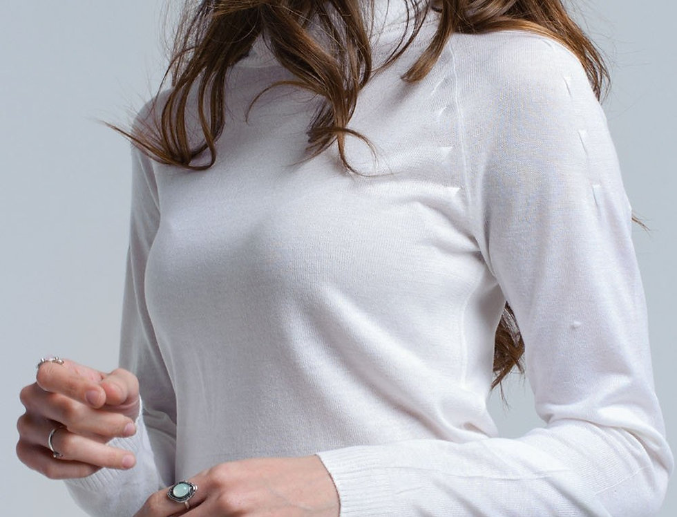 Cream Sweater With Pleated Detail