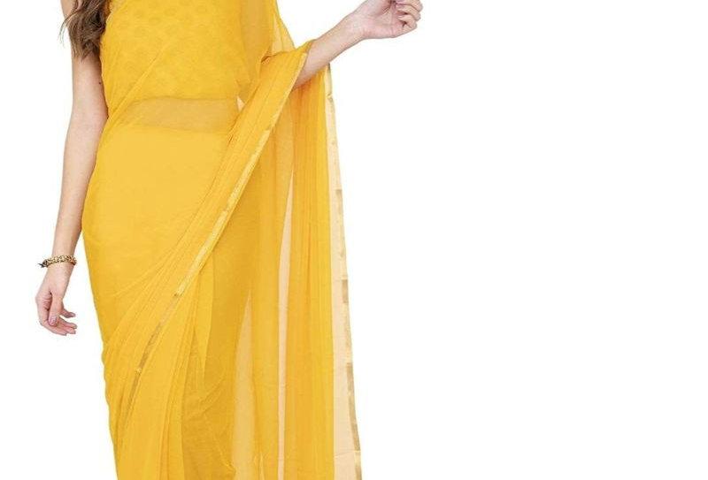 Women's Chiffon Saree (Yellow, 5-6 Mtrs)