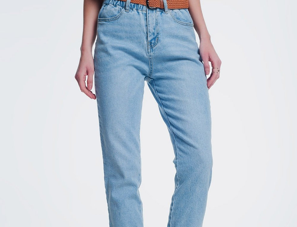 High Waist Mom Jeans With Belt in Light Denim