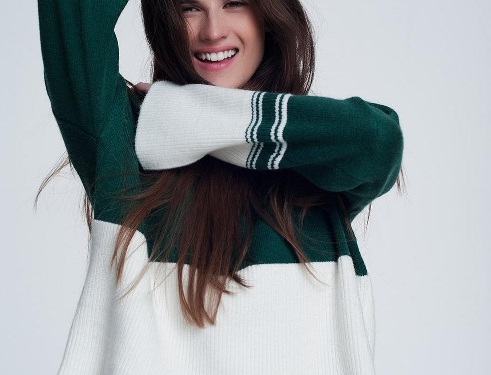 Green Turtleneck Sweatshirt With Stripes in Cream