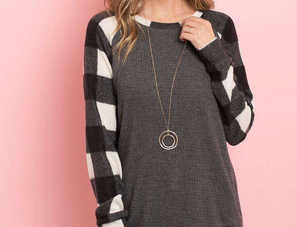 Plaid Neckband and Sleeves Solid Waffle Top